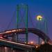 Vincent Thomas Bridge at Dusk with Moonrise 4x6 by J Bahu Photos