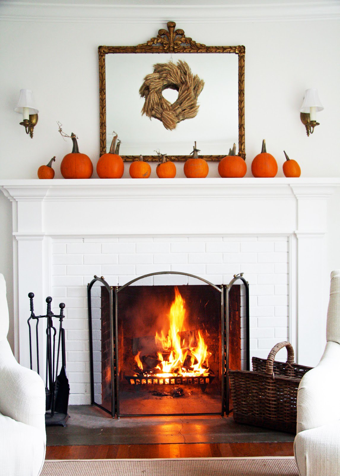 Pumpkin Simple Subtle Minimalist Mantel Fireplace Decorations Decorating Ideas Home Decor