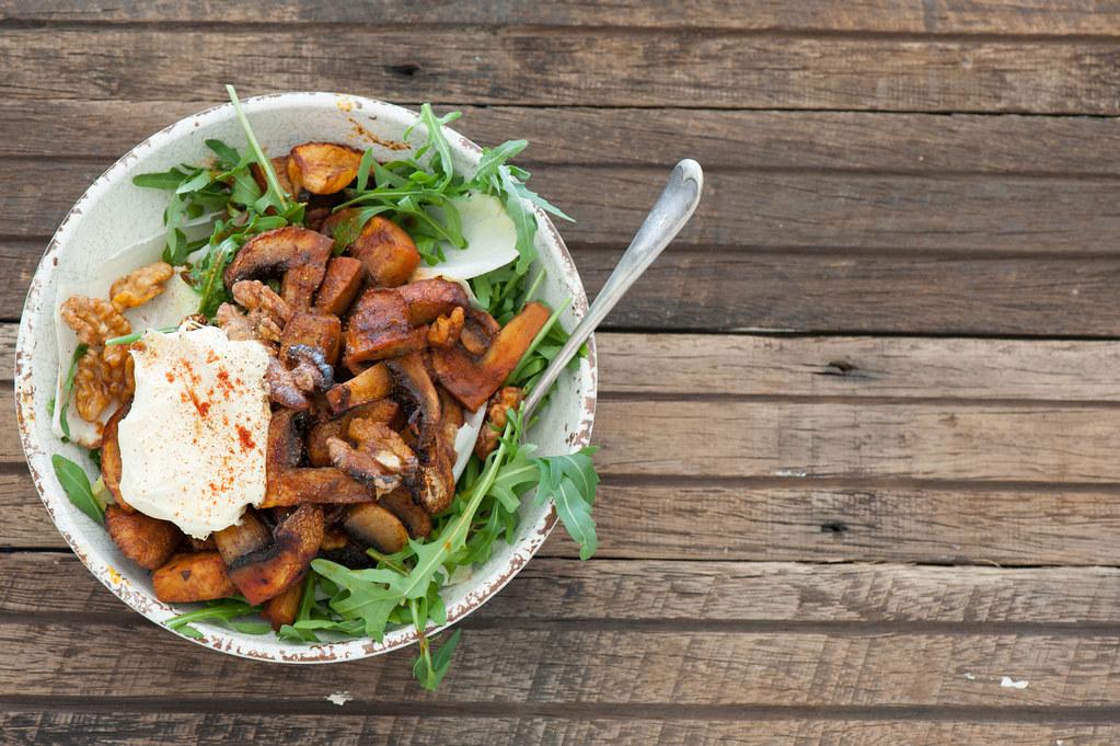 Warm Salad of Smoky Roast Mushrooms-