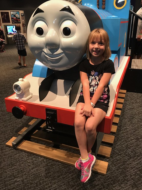 Birthday girl Bee at the Thomas the Train exhibit at COSI