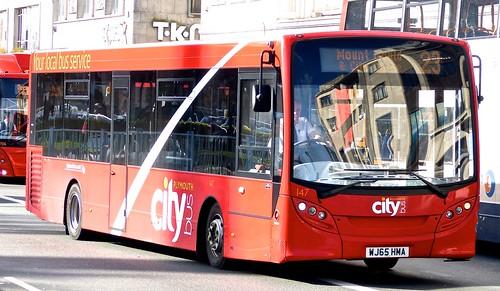 WJ65 HMA 'Plymouth citybus' No. 147 'city' Alexander Dennis Ltd. E20D on 'Dennis Basford's railsroadsrunways.blogspot.co.uk'
