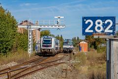 27 septembre 2017 x 73572-73771 Train 868254 Périgueux -> Limoges et BB 67422 Train 472005 Limoges-Puy-Imbert -> Bordeaux-Hourcade Agonac (24) - Photo of Ligueux