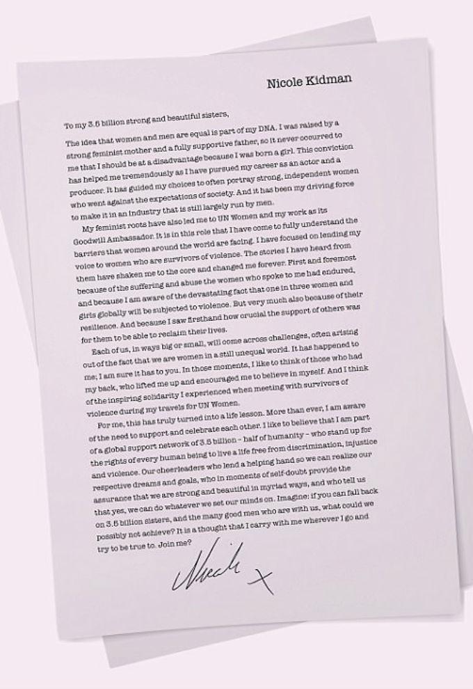 La carta de Nicole Kidman para las mujeres del mundo