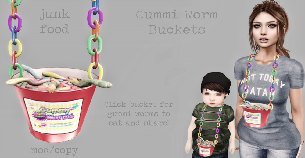 Junk Food – Gummi Worm Bucket AD SL