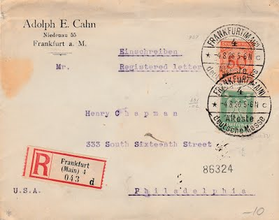CAHN, ADOLPH E. stamped cover