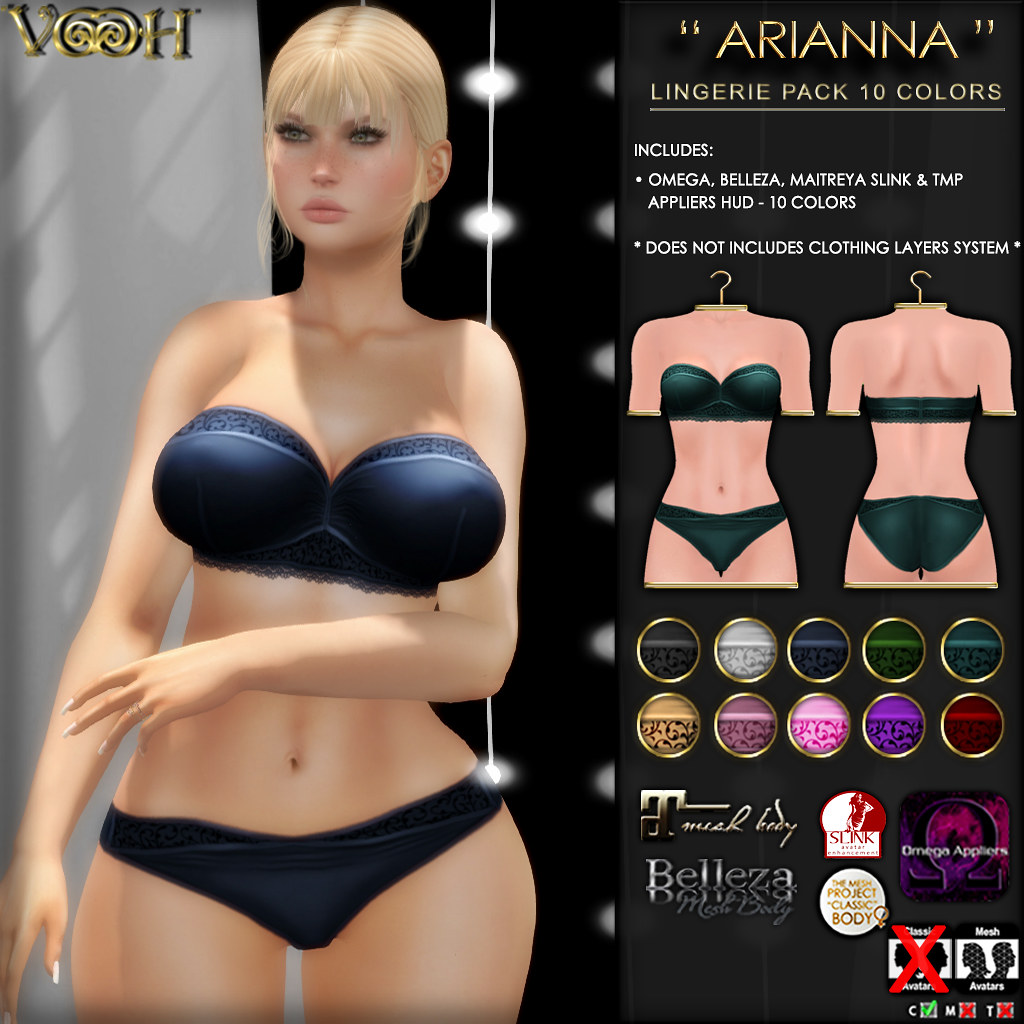 """ VOOH "" NEW RELEASE! ARIANNA LINGERIE PACK - 10 COLORS - TeleportHub.com Live!"