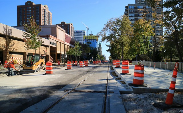 Milwaukee streetcar construction progress, North Jackson Street at Juneau Village