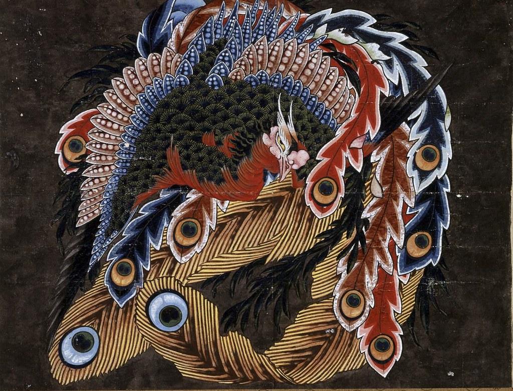 葛飾北斎《鳳凰図天井絵彩色下絵》(1846年頃、小布施町・岩松院)