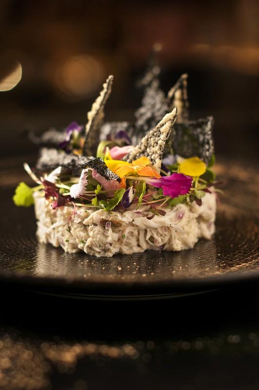 SO Sofitel: Spanner Crab_ Wasabi Mayonnaise_ Seaweed Crackers_ Edible Flowers_ Herbs