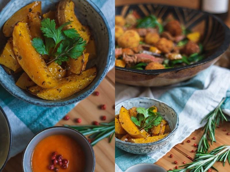 Filetstreifen-Herbst-Salat-Butternut-Mielie-Pap