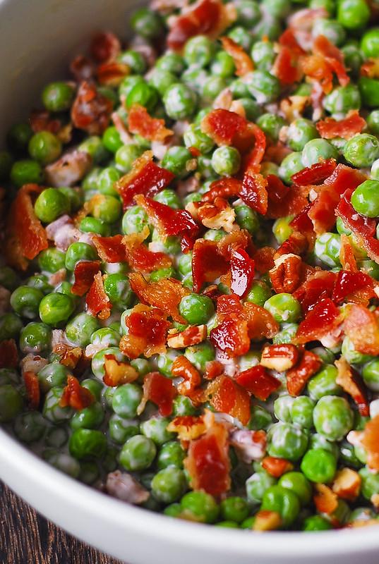 crunchy pea salad, crunchy pea bacon pecan salad, crunchy pea salad with nuts, crunchy fall salad
