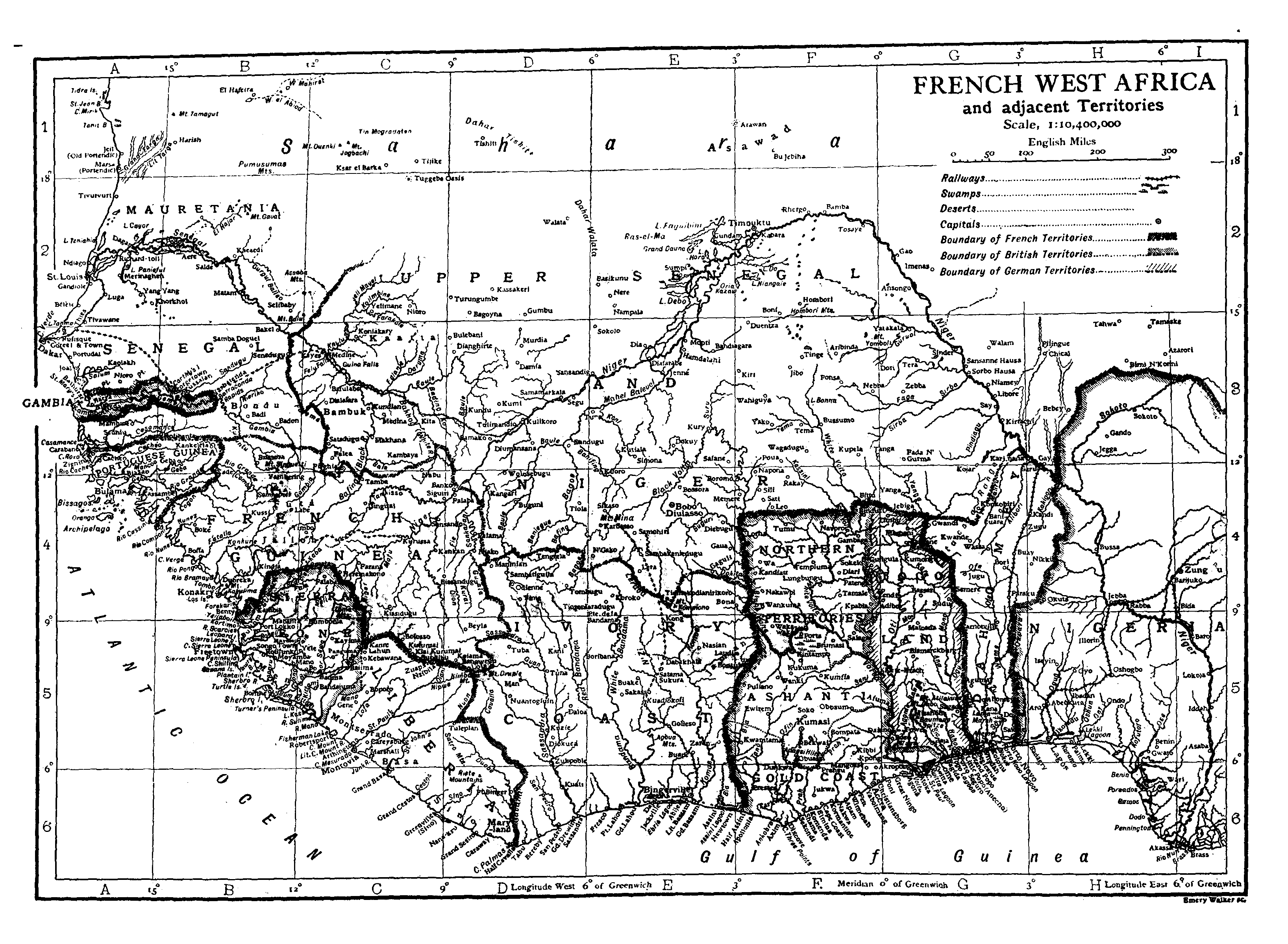A map of French West Africa showing Upper Senegal and Niger circa 1911 from the Encyclopædia Britannica