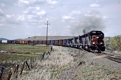 Southern Pacific SD-45R 7488 with a EUCHQ train on the Modoc Line.  Likely California, May 26 1996.