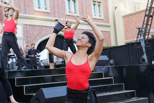 BFA student Rachel Harris performing in USC Village Opening Performance dress rehesarsal