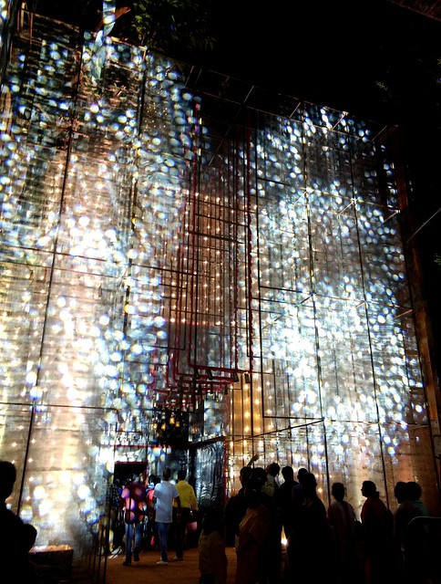 Layers of revolving lights making up the exterior decoration of the 95 Pally Durga Puja pandal.