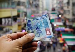 Hand holding Hong Kong dollar (HKD) billnotes