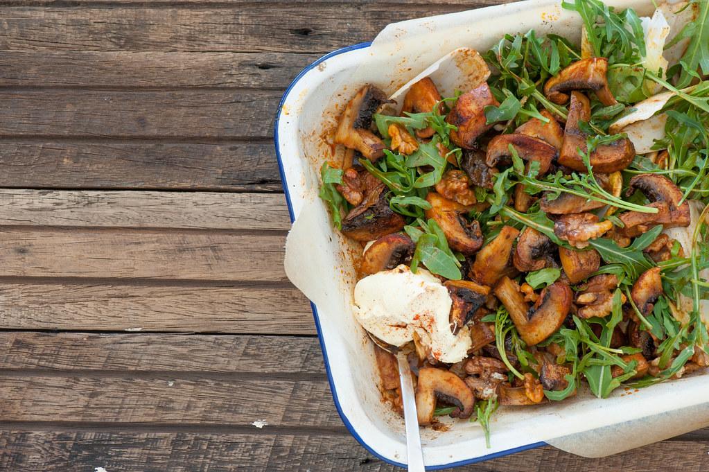 Warm Salad of Smoky Roast Mushrooms--4