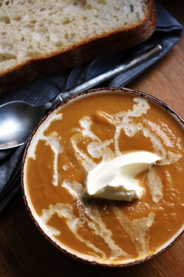 Sweet Potato Butternut Apple Soup with Mascarpone