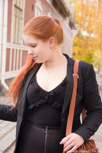 Outfit Päivän Asu Guess Esprit Kalevala Koru Ompelimo Rokita hapsulaukku nahkainen nahkalaukku kotimainen ruskeat saappaat Syystyyli fashion blog styleblog blogger tyyliblogi muoti