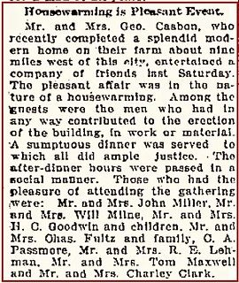 Casbon G housewarming Waterloo Eve Courier 11 Nov 1915