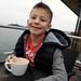 Matthew enjoying a hot chocolate on the Hoe Sunday morning