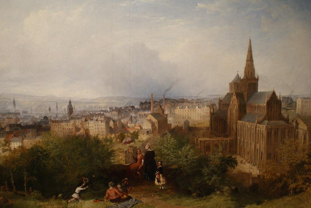 > Vue de la Cathedrale Saint Mungo à Glasgow depuis la Necropole vers 1900.
