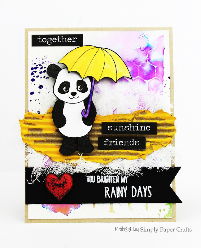 Meihsia Liu Simply Paper Crafts Mixed Media Card Panda Simon Says Stamp Monday Challenge