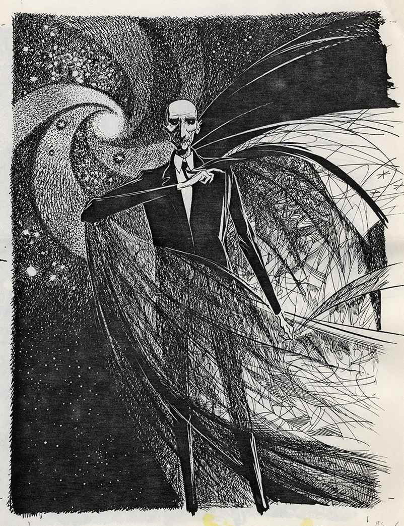 Joseph Mugnaini - Mr. Moundshroud, illustration from The Halloween Tree, by Ray Bradbury, 1972