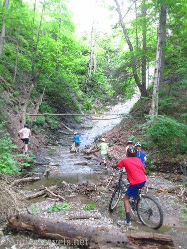 (A very bad picture of us) Scrambling up to the waterfall along the Keuka Outlet Trail between Penn Yan and Dresden, New York
