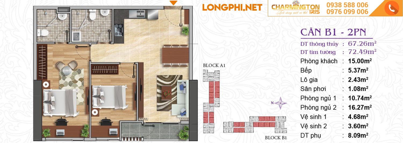 Căn hộ 2 phòng ngủ B1 dự án Charmington Iris Q4.