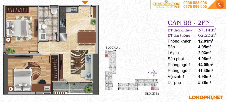Căn hộ 2 phòng ngủ B6 dự án Charmington Iris Q4.