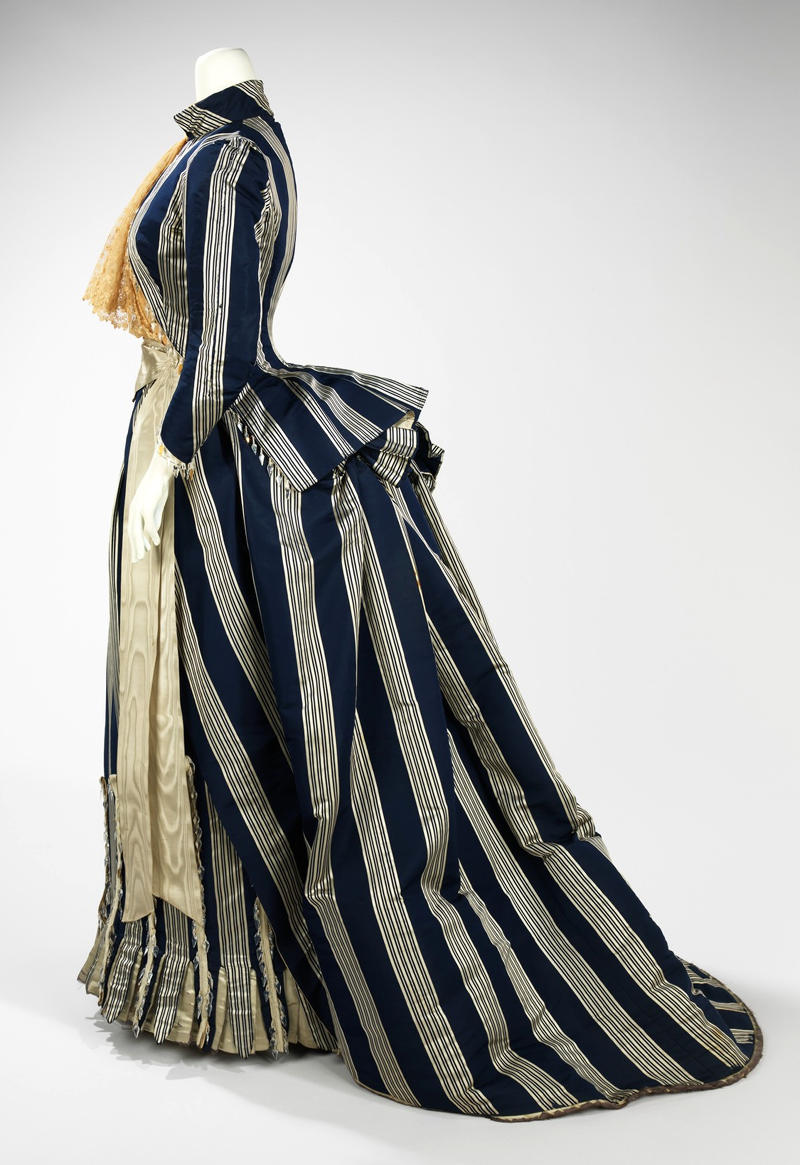1885 Walking Dress. French. House of Worth. Silk, glass. metmuseum