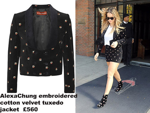 Rita-Ora-in-AlexaChung-embroidered-cotton-velvet-tuxedo-jacket, velvet embroidered tuxedo jacket, AlexaChung velvet embroidered tuxedo jacket, skirt suit, velvet suit, velvet suit skirt, suit skirt, black ensemble with floral detailing, cat-eye sunglasses, -