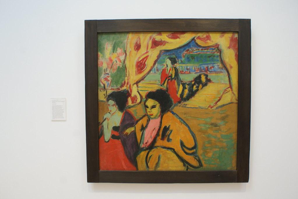"""Peinture """"Théâtre japonais"""" (1909) d'Ernst Ludwig Kirchner au musée d'art moderne d'Edimbourg."""