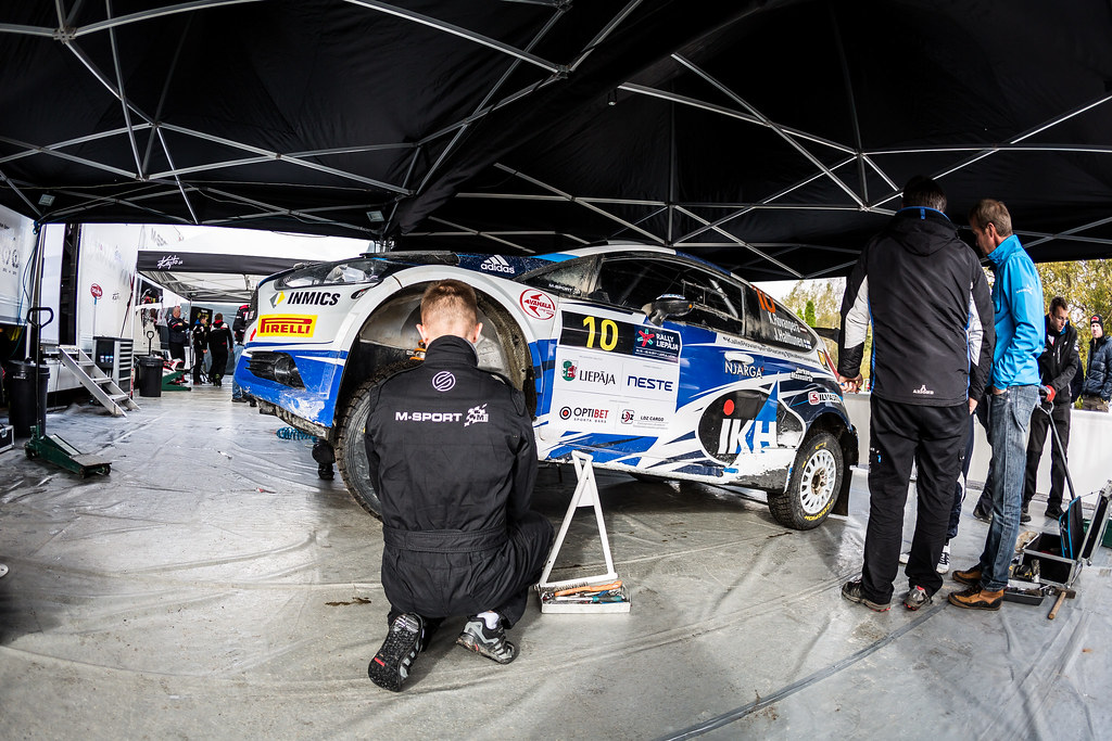 10 Rovanpera Kalle and Halttunen Jonne, Ford Fiesta R5 service parc ambiance during the 2017 European Rally Championship ERC Liepaja rally,  from october 6 to 8, at Liepaja, Lettonie - Photo Thomas Fenetre / DPPI