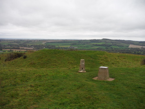 Barrow, Toposcope and Trigpoint on Old Winchester Hill