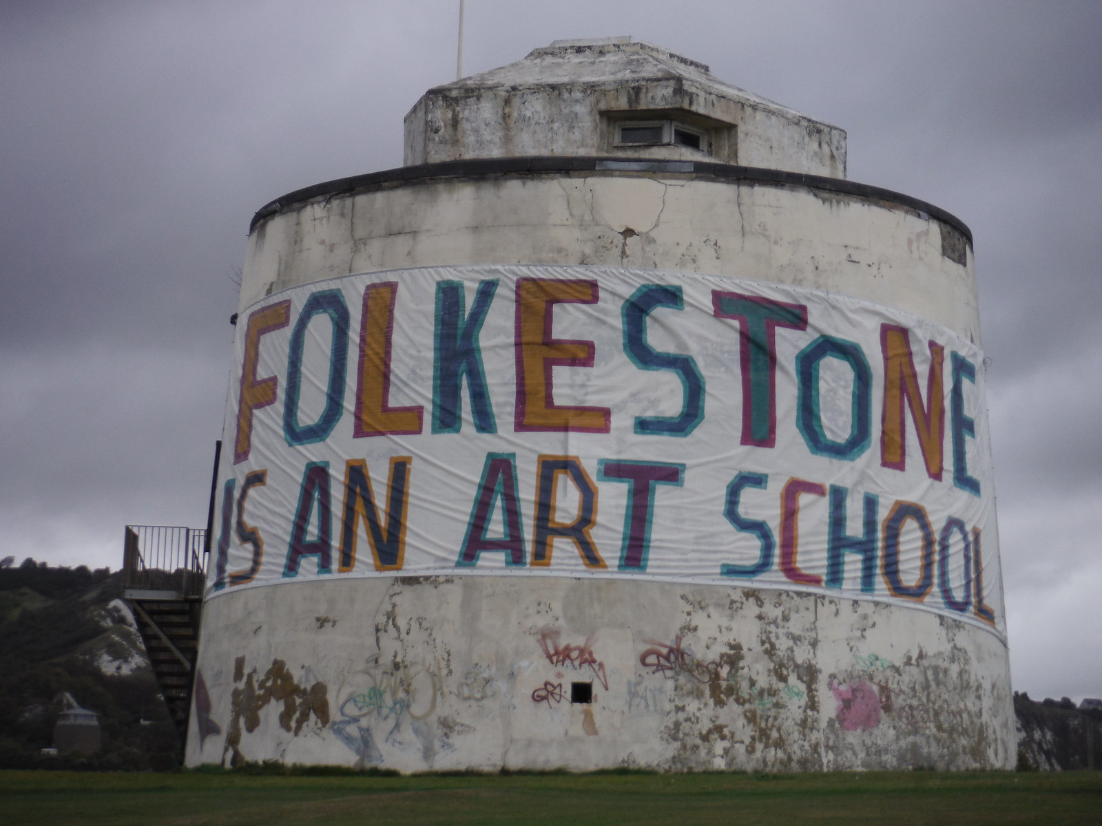 Folkestone Triennial: Rob and Roberta Smith - FOLKESTONE IS AN ART SCHOOL [Copt Point Martello Tower] SWC Walk 93 - North Downs Way: Sandling to Folkestone or Dover