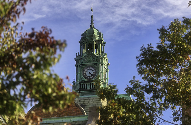 Clock Tower framed in Fall Leaves
