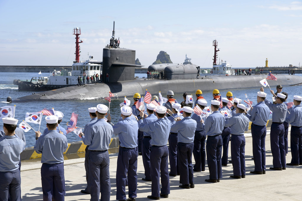 USS Michigan pulls into Busan Naval Base.