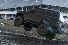Off-road vehicle brand Nissan overcomes the track on a polygon