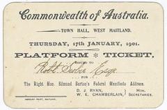 Platform ticket, 1901, Maitland, N.S.W.
