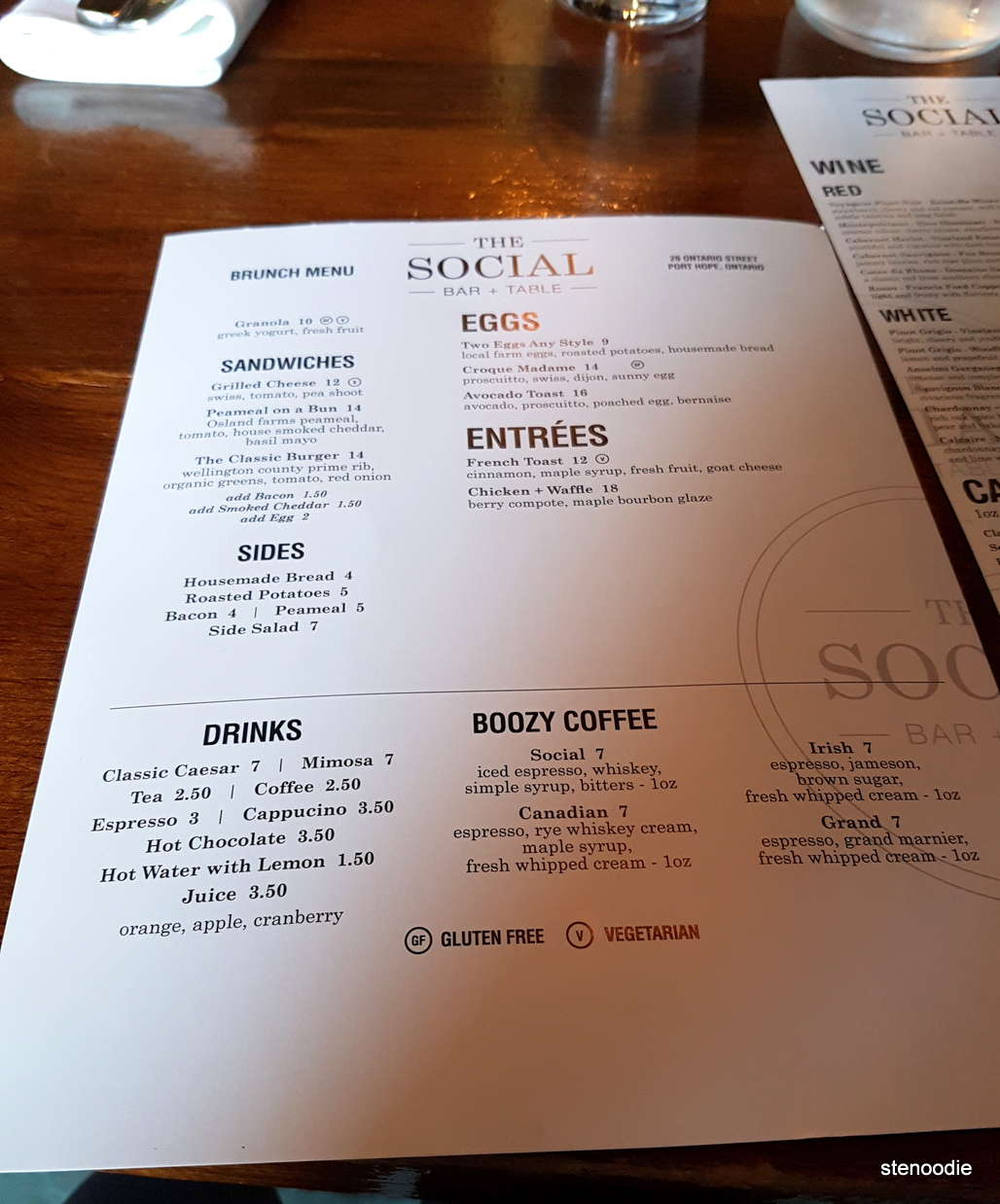 The Social Bar and Table Sunday brunch menu and prices