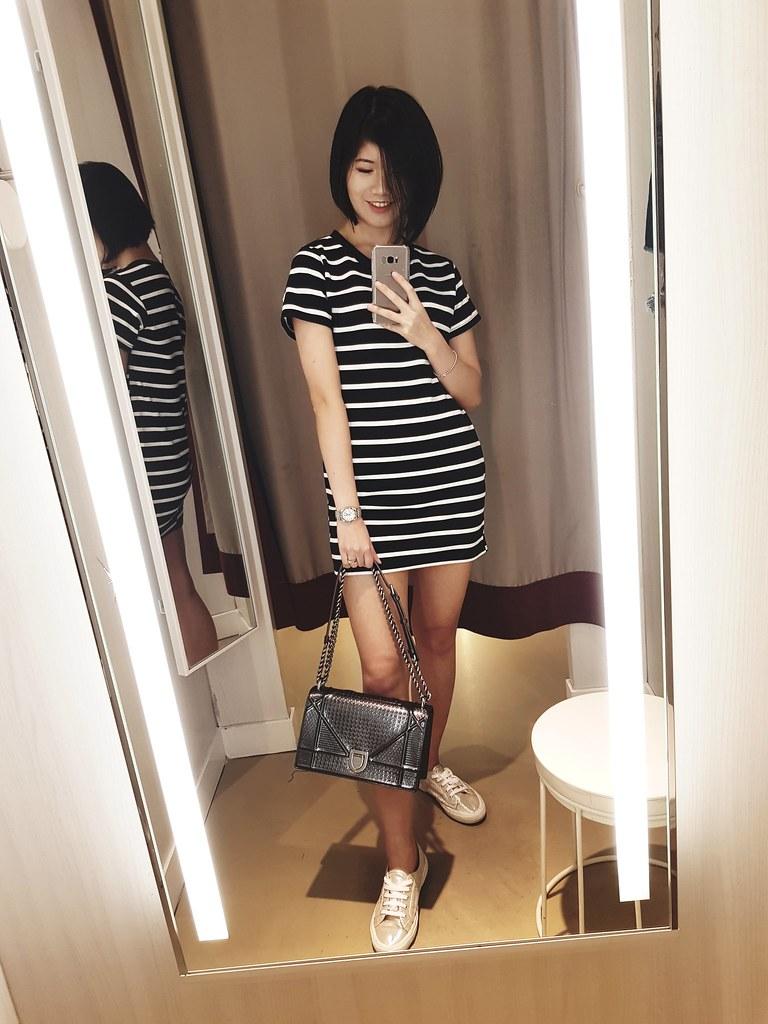 Casual black stripes dress