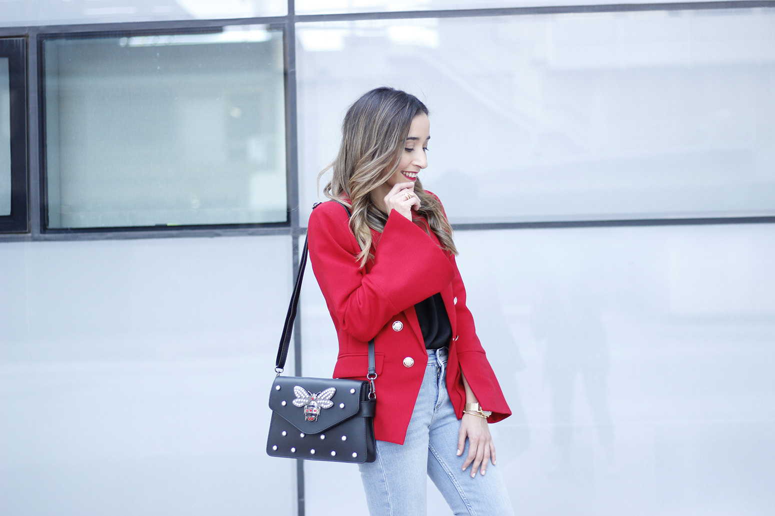red blazer black heels bee bag denim lace top style fashion outfit trend autumn17