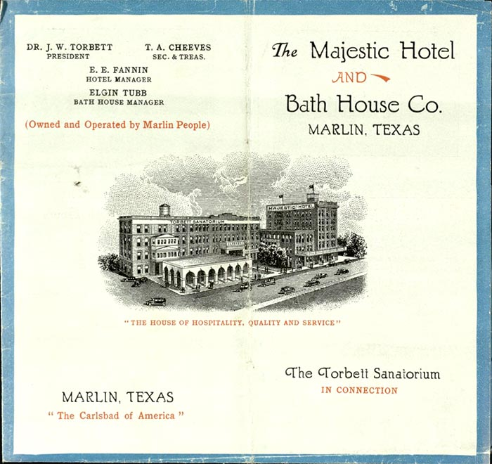 The Majestic Hotel and Bath House Co. [Marlin, Texas?]: [publisher not identified], [between 1908 and 1920?]. Print.