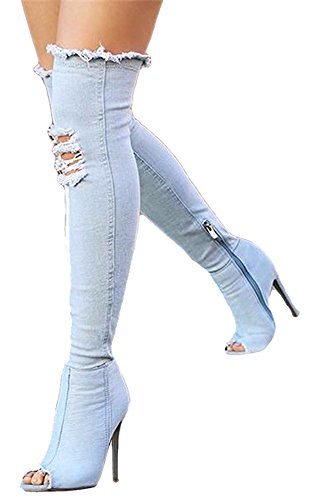 Aloe W Women s Shoes Over the Knee Thigh High Open Toe Sexy Stiletto Heel Denim Boots