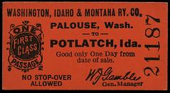 Washington, Idaho & Montana Railway, Destination Potlatch, Idaho - Palouse, Washington