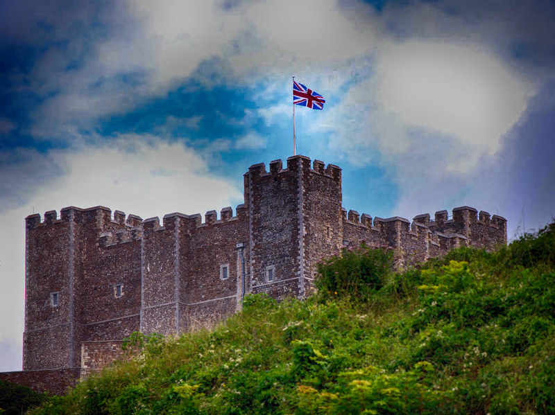 Dover Castle flying the Union Jack. Credit Harvey Barrison