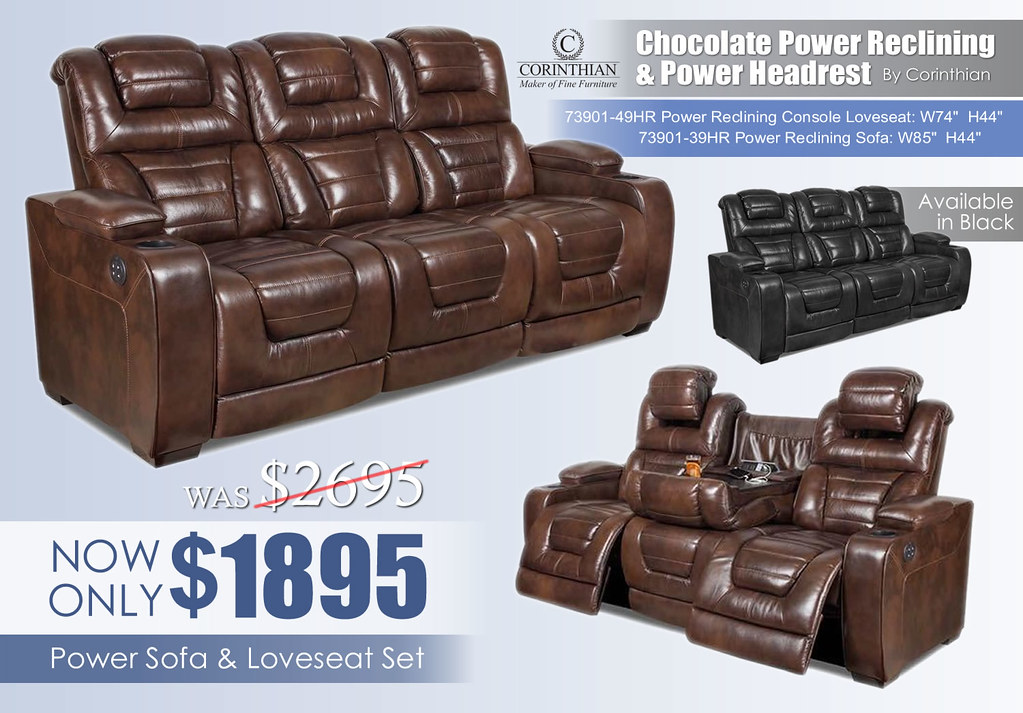 Corinthian Power Chocolate Reclining Set_73901