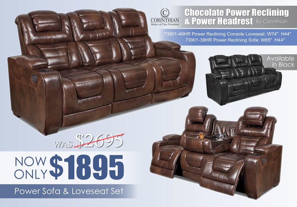 Corinthian Power Chocolate Reclining Set_73901